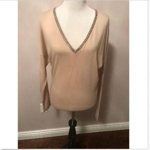 Stella McCartney Pink Wool V-Neck Sweater SZ 10